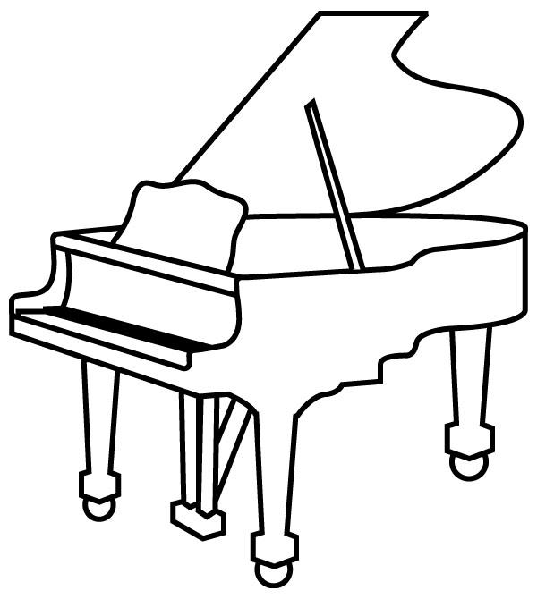 白いグランドピアノのイラスト